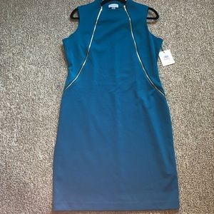 Calvin Klein Teal Sheath Dress with Gold Zippers